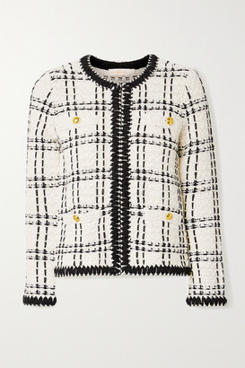 Tory Burch Kendra Chiffon-trimmed Linen-blend Tweed Jacket - Ecru