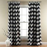 Lush Decor Chevron Blackout Window Curtain, 84 by 52-Inch, Black, Set of 2