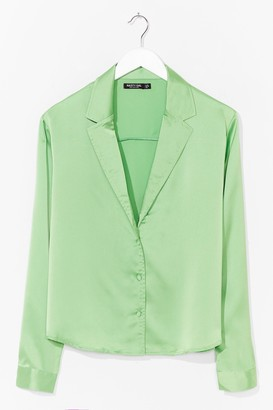 Nasty Gal Womens Plus Size Satin Shirt with Blouson Sleeves - Apple Green