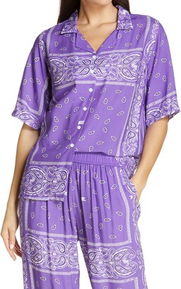 Melody Ehsani Staycation Bandana Print Short Sleeve Button-Up Top