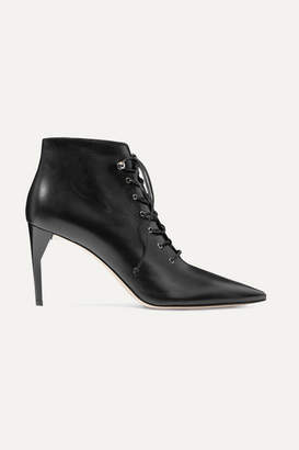 Miu Miu Lace-up Leather Ankle Boots - Black