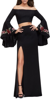 La Femme Off the Shoulder Long Sleeve Two-Piece Gown