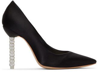 Sophia Webster Black Satin Crystal Coco Pumps