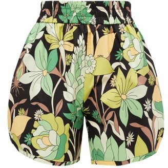 Fendi Elasticated-waist Dream Garden-print Cotton Shorts - Black Print