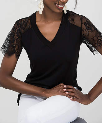 Milan Kiss Women's Blouses BLACK - Black Lace-Sleeve V-Neck Top - Women