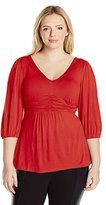 NY Collection Women's Ruched V-Neck Jersey Top
