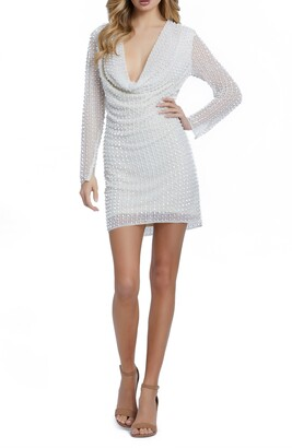 Mac Duggal Pearly Cowl Neck Long Sleeve Cocktail Dress