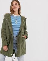 New Look cotton parka jacket in khaki