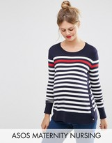 ASOS Maternity - Nursing ASOS Maternity NURSING Sweater With Popper Side in Stripe