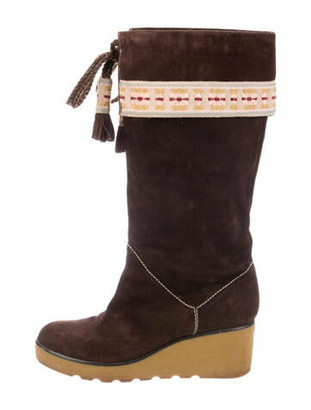 Marc Jacobs Suede Embroidered Accent Boots Brown