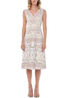 Kay Unger Priscilla Chemical Lace Midi Dress