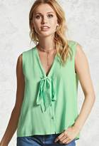 Forever 21 FOREVER 21+ Self-Tie Button-Down Top