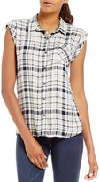 Copper Key Plaid Cap Sleeve Button-Front Tunic