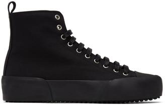 Jil Sander Black Canvas High-Top Sneakers