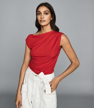 Reiss Flavia - Jersey High Neck Top in Red
