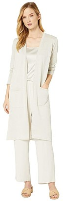 Eileen Fisher Fine Organic Linen Crepe Sparkle Simple Long Cardigan (Bone) Women's Clothing