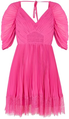 Self-Portrait Pink Pleated Chiffon Mini Dress