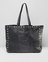 Asos Leather Embossed And Studded Shopper Bag