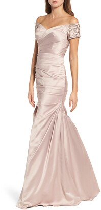 La Femme Off the Shoulder Beaded Satin Trumpet Gown