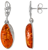 Goldmajor Sterling Silver Amber Marquise Drop Earrings, Cognac