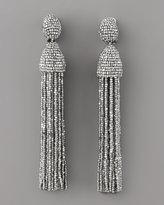 Oscar de la Renta Beaded Tassel Earrings, Silver