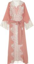 Rosamosario - Sweet Sumatra Metallic Lace-trimmed Silk-georgette Robe - Antique rose
