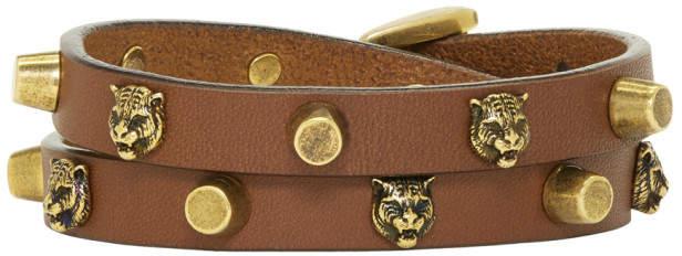 Gucci Brown Feline Head Double-Wrap Bracelet