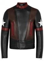 Givenchy Black Star-appliquéd Leather Biker Jacket