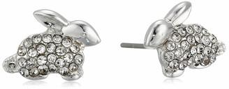 Pet Friends Women's Silver Crystal Button Bunny Earrings One Size