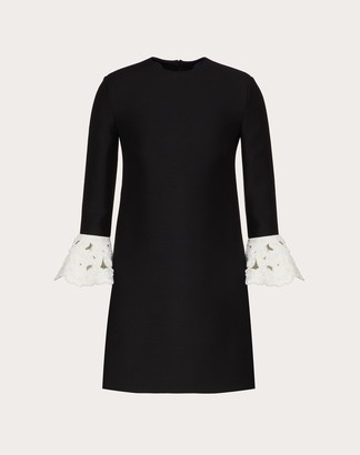 Valentino Short Embroidered Crepe Couture Dress Women Black/white Virgin Wool 65%, Silk 35% 38