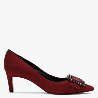 Kennel + Schmenger Enny Red Suede Studded Buckle Court Shoes
