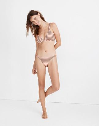 Madewell Ribbed Side-Strap Bikini Bottom in Ombre Stripe