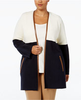 Charter Club Plus Size Milano Colorblocked Duster Cardigan, Only at Macy's
