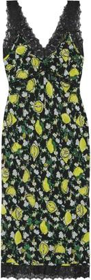 Diane von Furstenberg Issey Lace-trimmed Printed Silk Crepe De Chine Dress