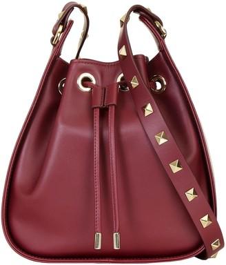 Aurora London The Ziggy Crossbody Studded Leather Bag Burgundy