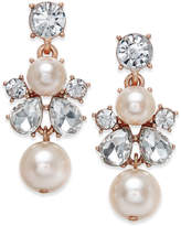 Charter Club Rose Gold-Tone Crystal and Imitation Pearl Drop Earrings, Only at Macy's