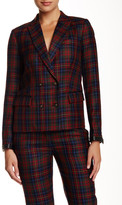 L.A.M.B. Double Breasted Plaid Wool Blazer