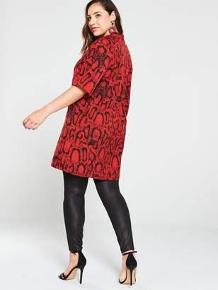 AX Paris Curve Animal Print Shirt Dress - Red