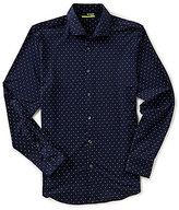 Murano Performance Slim-Fit Spread Collar Diamond Print Long-Sleeve Sportshirt