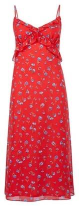 Dorothy Perkins Womens Red Floral Print Chiffon Slip Dress, Red