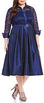 Eliza J Plus 3/4 Sleeve Collar Neck Lace Bodice Belted Shirt Dress