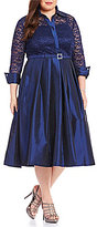 Jessica Howard Eliza J Plus 3/4 Sleeve Collar Neck Lace Bodice Belted Shirt Dress
