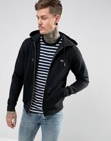 Lacoste Hooded Zip Through Logo Sweat In Black