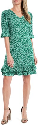 CeCe Ditsy Floral Ruffle Trim Dress