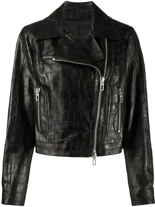 Drome Embossed Croc-Effect Biker Jacket