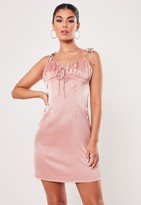 Missguided Petite Pink Strappy Ruched Bust Mini Dress