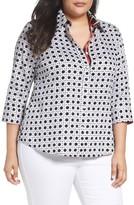Foxcroft Plus Size Women's Wicker Print Shirt