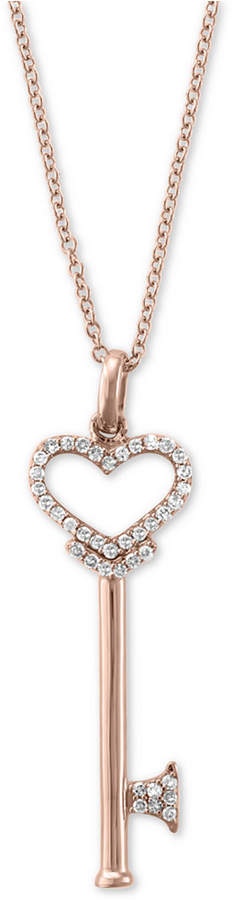 Effy Pave Rose by Diamond Diamond Heart Key Pendant (1/5 ct. t.w.) in 14k Rose Gold