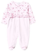 Kissy Kissy Pink Floral Jersey and Velour Babygrow with Frill Detail