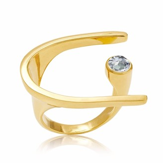 Neola Lunaria Gold Cocktail Ring With Blue Topaz